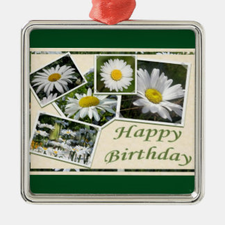White Daisy Birthday Collage Metal Ornament
