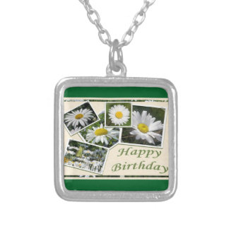 White Daisy Birthday Collage Silver Plated Necklace