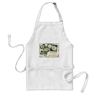 White Daisy Birthday Collage Standard Apron
