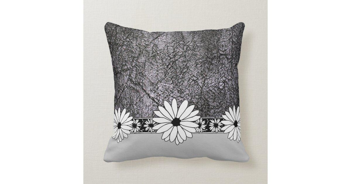 Leather Floor Pillows Cushions : White Daisy Black Faux Leather Throw Floor Pillow Zazzle