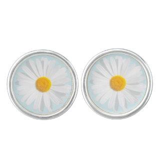 white daisy cufflinks
