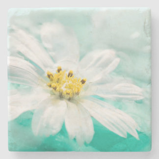 White Daisy Flower Blue Water Pond Aqua Turquoise Stone Coaster
