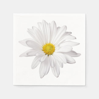 White Daisy Flower Illustration Floral Daisies Disposable Napkins