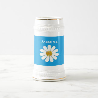White daisy flower   personalize beer stein