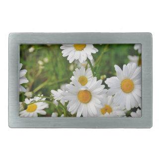 White Daisy Flower Rectangular Belt Buckle