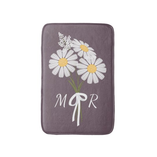 White Daisy Flowers Bouquet Monogram on Plum Bathroom Mat