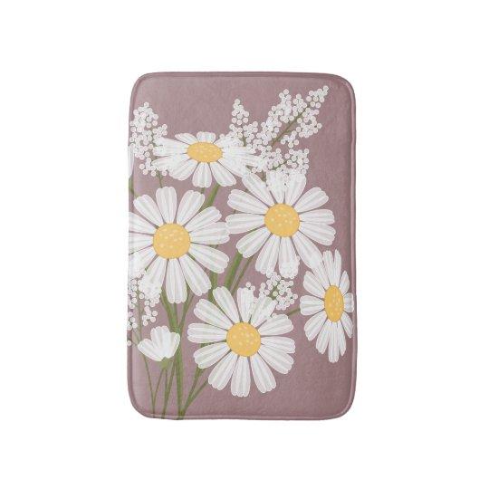 White Daisy Flowers Bouquet on Dark Pink Bath Mat