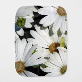 White Daisy Flowers Burp Cloth