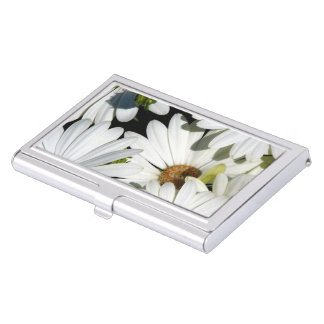 White Daisy Flowers Business Card Holders
