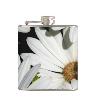 White Daisy Flowers Hip Flask