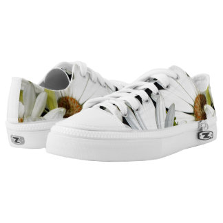 White Daisy Flowers Low-Top Sneakers