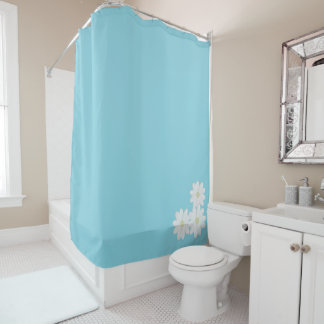 White Daisy Flowers on Aqua Shower Curtain