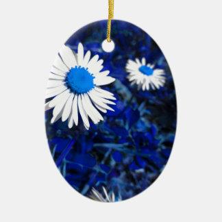 White daisy flowers on blue . Tuscany, Italy Ceramic Oval Ornament