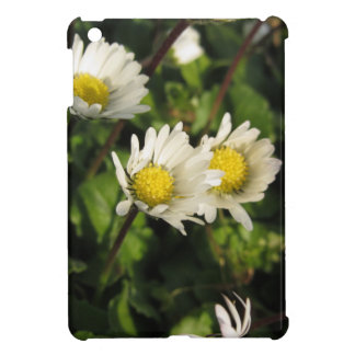 White daisy flowers on green background iPad mini cases