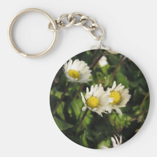 White daisy flowers on green background keychain