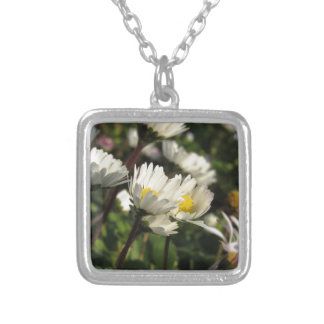 White daisy flowers on green background silver plated necklace