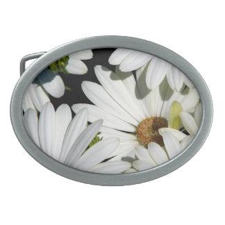 White Daisy Flowers Oval Belt Buckle