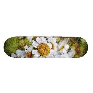 White Daisy Flowers - Painting Art Skateboard