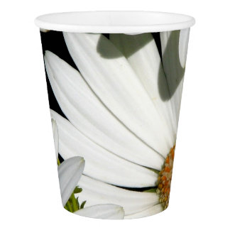 White Daisy Flowers Paper Cup