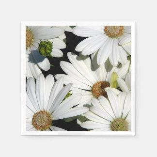 White Daisy Flowers Paper Napkins