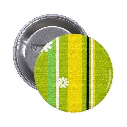 WHITE DAISY FLOWERS STRIPES GREEN YELLOW BLACK PRE BUTTONS