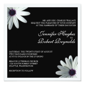 White Daisy Formal Wedding Invitation