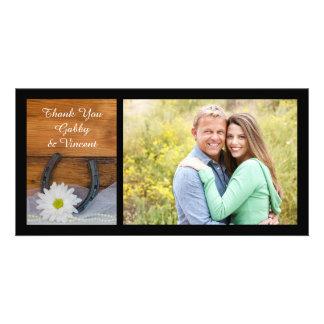 White Daisy Horseshoe Western Wedding Thank You Card