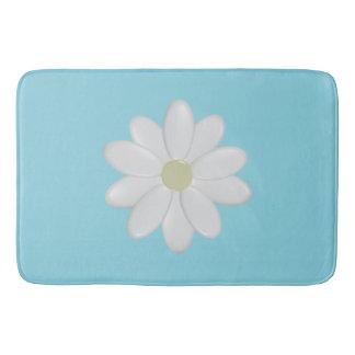 White Daisy Modern Aqua Large Bath Mat