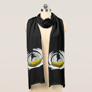 White Daisy Motif on Black Scarf