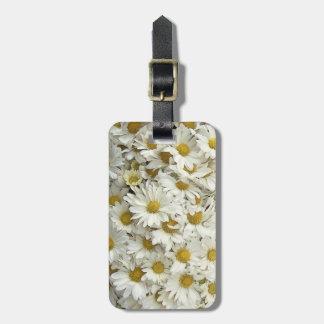 White Daisy Mums Luggage Bag Tag