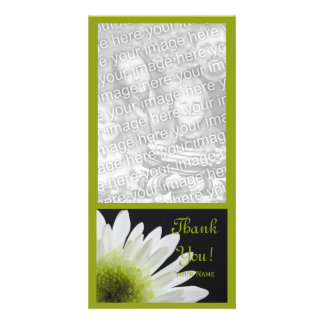 White Daisy on Black Thank You Photo Card