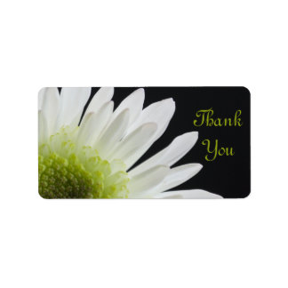White Daisy on Black Wedding Thank You Favor Tags