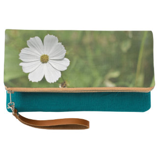 White Daisy on Teal Clutch