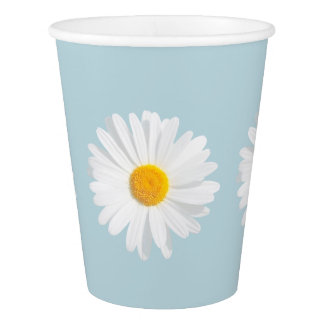 white daisy paper cup