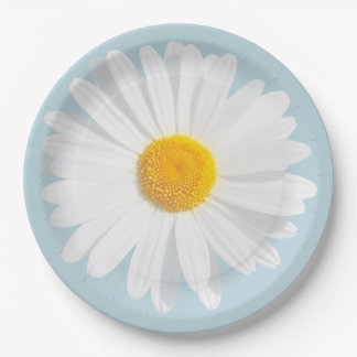 white daisy paper plate