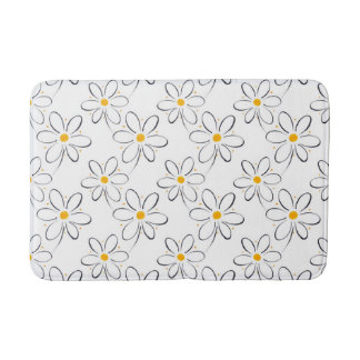 White Daisy Pattern Bathroom Mat