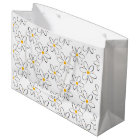 White Daisy Pattern Large Gift Bag