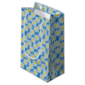 White Daisy Pattern on Blue Small Gift Bag