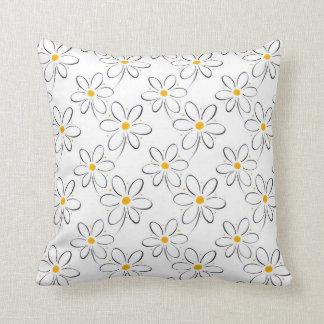 White Daisy Pattern Throw Pillow