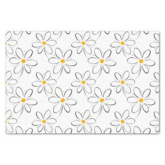 White Daisy Pattern Tissue Paper