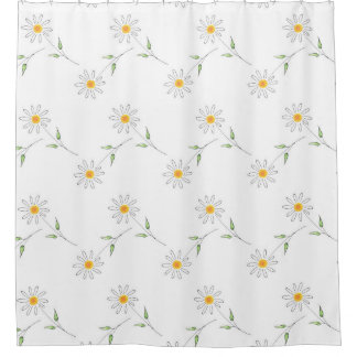 White Daisy Pen and Watercolor Pattern