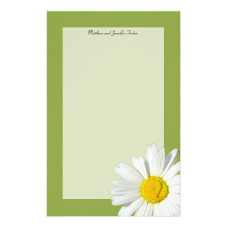 White Daisy Personalized Stationary Paper