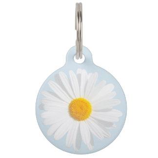 white daisy pet ID tag
