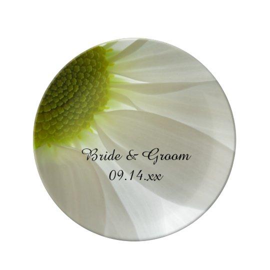 White Daisy Petals Wedding Keepsake Porcelain Plate