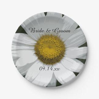 White Daisy Petals Wedding Paper Plate