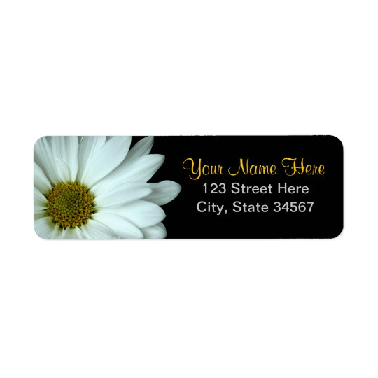 White Daisy Return Address Labels