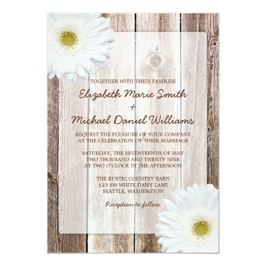 White Daisy Wedding Invitation: White Daisy Rustic Barn Wood Wedding Invitations