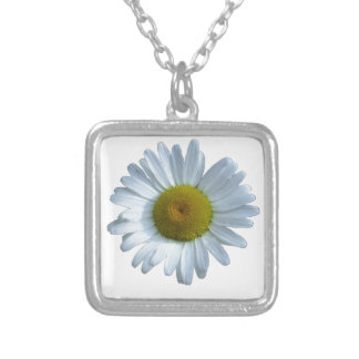 White Daisy Silver Plated Necklace
