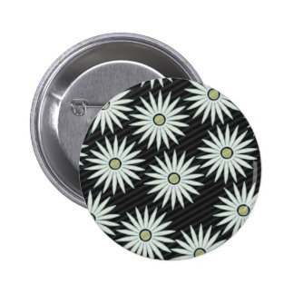 White Daisy Type Flowers on Black Background Buttons
