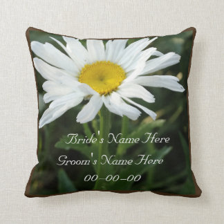 White daisy wedding personalized  with name throw pillow